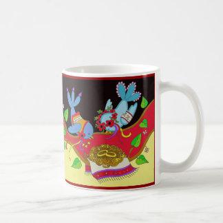 Caneca De Café Arte popular do ucraniano da felicidade do pássaro