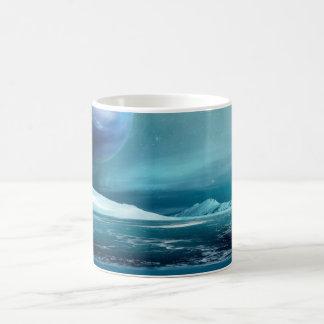Caneca de café ártica do gelo marinho da lua da