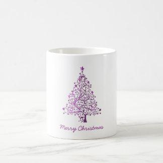 Caneca De Café Árvore de Natal cor-de-rosa decorativa estrelado