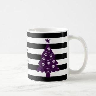 Caneca De Café Árvore de Natal gótico com listras