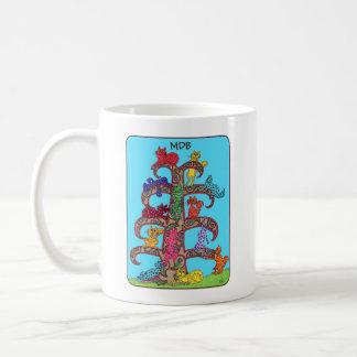Caneca De Café Árvore do gato de Paisley do monograma do costume