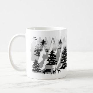 Caneca De Café Árvores de floresta rústicas da montanha do