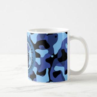 Caneca De Café As forças armadas azuis camuflam com granada
