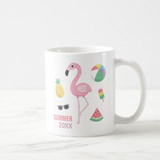 Caneca De Café As meninas cor-de-rosa do tema de Luau do flamingo