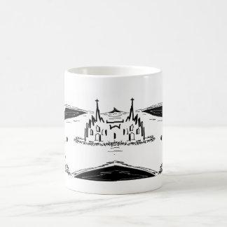 Caneca De Café asno e elefante com inseto e catedral