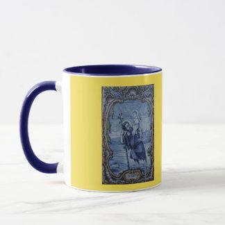 Caneca de café azul do azulejo de Christopher de