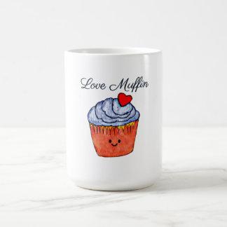 Caneca De Café Azul do muffin do amor