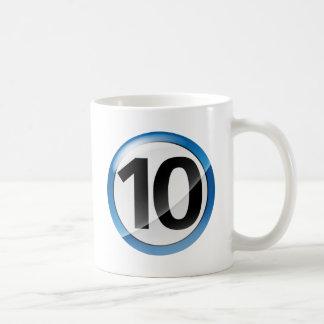 Caneca De Café Azul do número 10