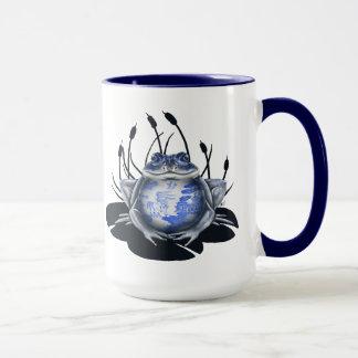 Caneca de café azul do sapo de Bull do salgueiro