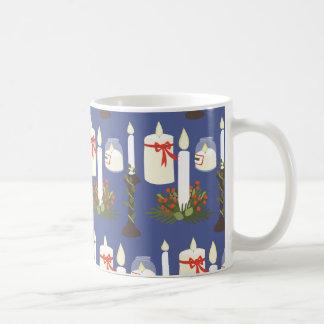 Caneca De Café Azul festivo do impressão da vela