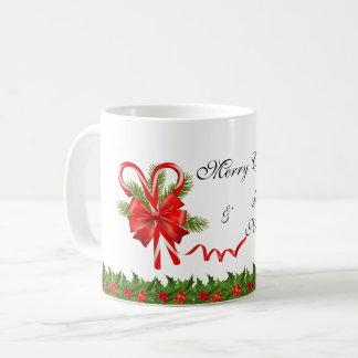 Caneca De Café Bagas Natal do azevinho e bastões de doces