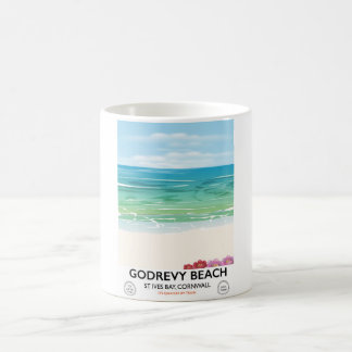 Caneca De Café Baía de St Ives da praia de Godrevy, poster de