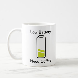 Caneca De Café Baixo café da necessidade da bateria