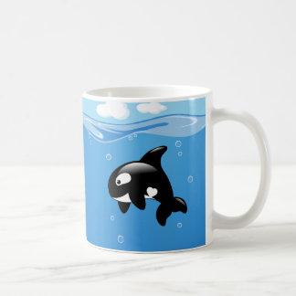 Caneca De Café Baleia pequena bonito da orca no oceano
