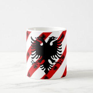 Caneca De Café Bandeira albanesa das listras