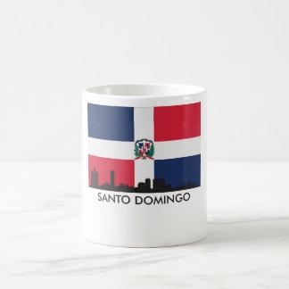 Caneca De Café Bandeira da República Dominicana da skyline de