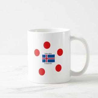 Caneca De Café Bandeira de Islândia e design islandês da língua