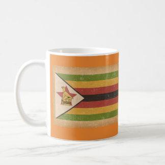 Caneca De Café Bandeira do Grunge de Zimbabwe