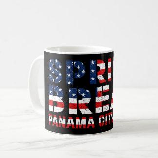 Caneca De Café Bandeira dos E.U. da praia da Cidade do Panamá das