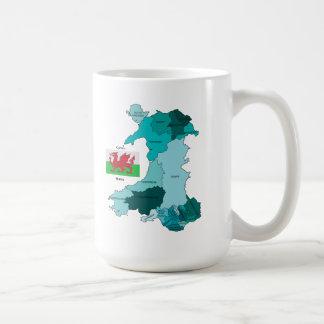 Caneca De Café Bandeira e mapa de Wales