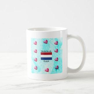 Caneca De Café Bandeira holandesa e design holandês da língua