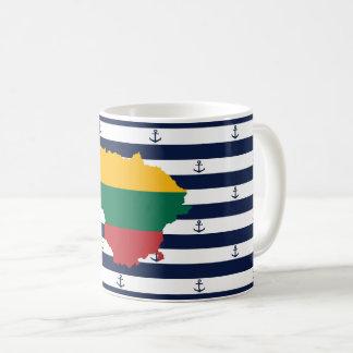 Caneca De Café Bandeira/mapa de Lithuania em fundo listrado