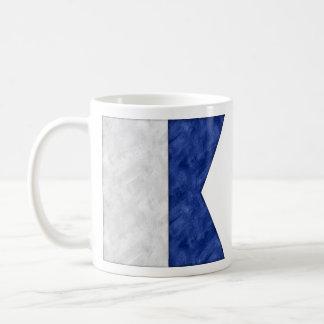 Caneca De Café Bandeira marítima do sinal náutico da aguarela