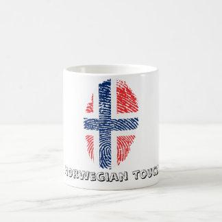 Caneca De Café Bandeira norueguesa da impressão digital do toque