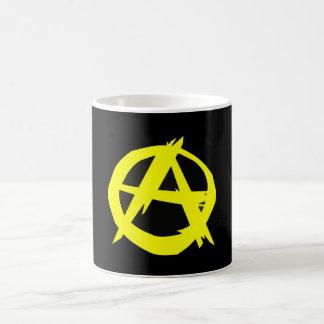 Caneca De Café Bandeira preta e amarela do capitalismo de Anarcho