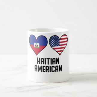 Caneca De Café Bandeiras americanas haitianas do coração