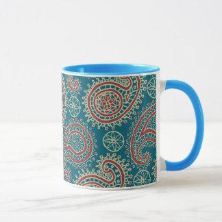 Caneca de café bege azul vermelha da campainha de