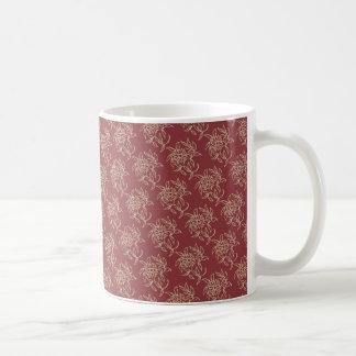 Caneca De Café Bege floral do Mini-impressão do estilo étnico no