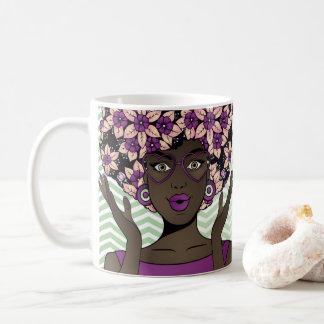 Caneca De Café Beleza do Afro & flores roxas da hortelã