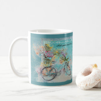 Caneca De Café Bicicleta com as cestas da flor na serapilheira