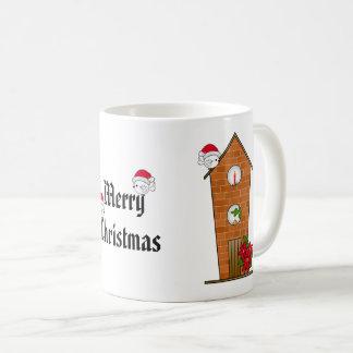 Caneca De Café Birdhouse toda Decked para fora para o Natal