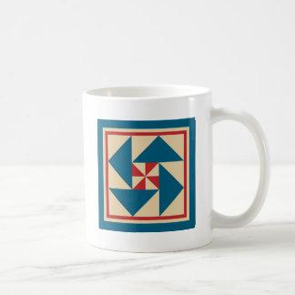 Caneca De Café Bloco patriótico da edredão da rotação (azul)