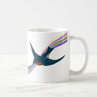 Caneca De Café Bluebird pequeno com arco-íris