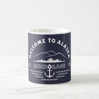 Caneca De Café Boa vinda a Alaska. Anchorage - logotipo branco