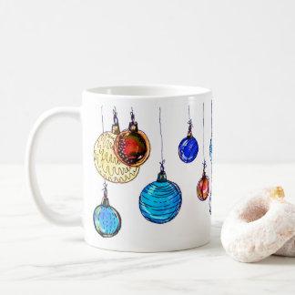 Caneca De Café Bolas coloridos do Natal