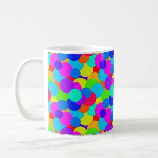 Caneca De Café Bolhas brilhantes de néon dos círculos de cores do