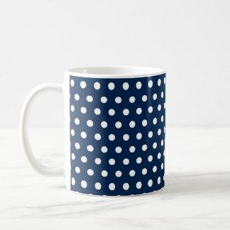 Caneca De Café Bolinhas bonitos dos azuis marinhos e do branco