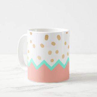 Caneca De Café bolinhas bonitos hortelã e rosa do ouro do falso