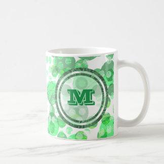 Caneca De Café Bolinhas manchadas monograma verde afligido