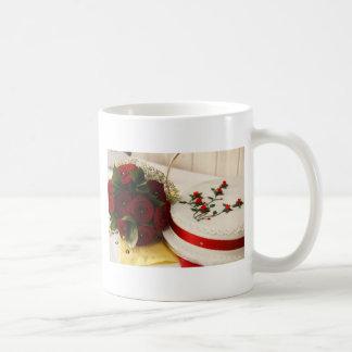 Caneca De Café Bolo de casamento vermelho e branco