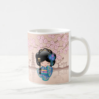 Caneca De Café Boneca de Keiko Kokeshi - menina de gueixa azul do