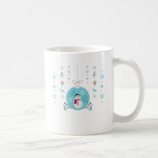 Caneca De Café Boneco de neve com as decorações de suspensão do