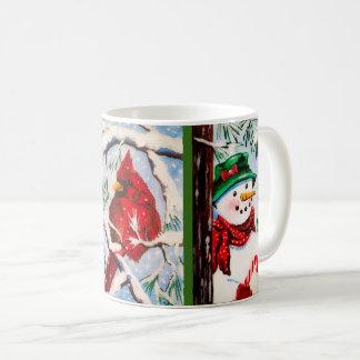 Caneca De Café Boneco de neve & copo cardinal dos amigos