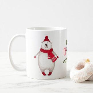 Caneca de café bonito do urso polar do Feliz Natal