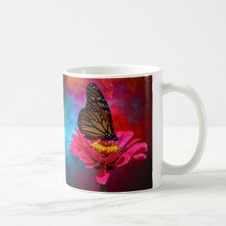 Caneca De Café borboleta fúcsia do bohemian da cerceta de