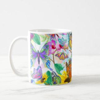 Caneca De Café Borboletas e flores